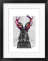 Jackalope with Pink Antlers Framed Print