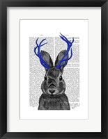 Jackalope with Blue Antlers Framed Print