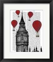 Framed Big Ben and Red Hot Air Balloons