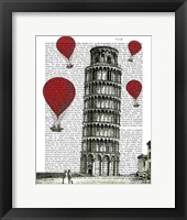 Framed Tower of Pisa and Red Hot Air Balloons