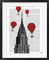 Framed Chrysler Building and Red Hot Air Balloons