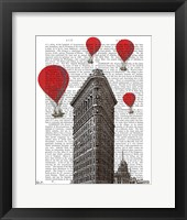 Framed Flat Iron Building and Red Hot Air Balloons