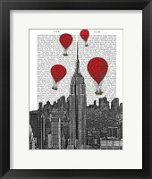 Framed Empire State Building and Red Hot Air Balloons