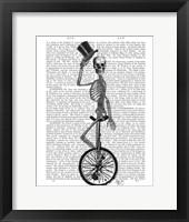 Skeleton on Unicycle Framed Print