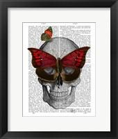 Pink Butterfly Mask Skull Framed Print