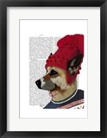 Dog in Ski Sweater Framed Print