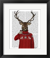Framed Deer in Ski Sweater