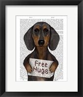 Framed Dachshund Free Hugs
