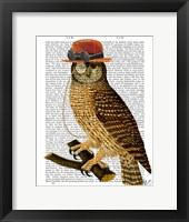 Owl with Steampunk Style Bowler Hat Framed Print