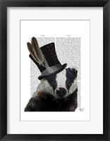 Steampunk Badger in Top Hat Framed Print