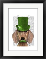 Dachshund With Green Top Hat and Moustache Framed Print