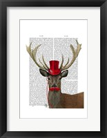 Framed Deer with Red Top Hat and Moustache