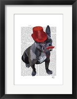 Framed French Bulldog With Red Top Hat and Moustache