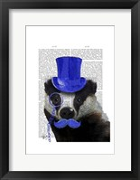 Framed Badger with Blue Top Hat and Moustache