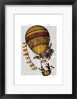 Framed Hot Air Balloon Gold with Flags