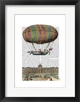 Framed Jardin De Tuileries Hot Air Balloon