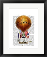 Framed City of New York Hot Air Balloon