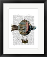 Framed Hot Air Balloon With Tail Feather