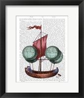 Framed Hot Air Balloon Airship With Red Sail