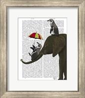 Framed Elephant and Penguin