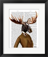 Moose In Suit Portrait Framed Print