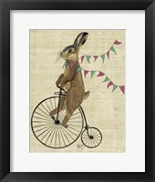 Framed Rabbit On Penny Farthing