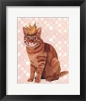 Ginger Cat with Crown Full Framed Print
