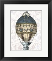 Baroque Balloon Blue & Cream Framed Print