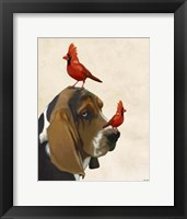 Framed Basset Hound and Birds II