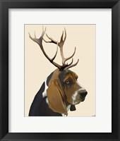 Framed Basset Hound and Antlers II