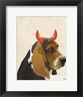 Framed Little Devil Basset Hound