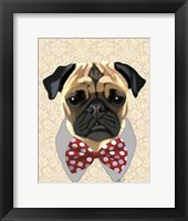 Pug with Red and White Spotty Bow Tie Framed Print