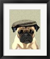 Pug in Flat Cap Framed Print