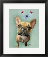 Framed Brown French Bulldog and Butterflies