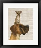 Great Dane and Chihuahua Framed Print