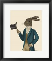 Hare In Turquoise Coat Framed Print