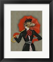 Framed Elegant Greyhound and Red Umbrella
