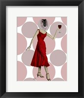 Framed Monkey in Red Dress with wine