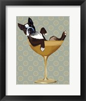 Framed Boston Terrier in Cocktail Glass