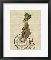 Framed March Hare on Penny Farthing