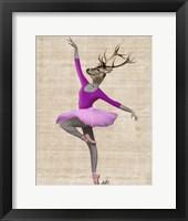 Framed Ballet Deer in Pink II