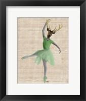 Ballet Deer in Green II Framed Print