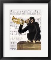 Framed Monkey Playing Trumpet