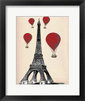 Framed Eiffel Tower and Red Hot Air Balloons