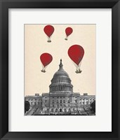 Framed US Capitol Building and Red Hot Air Balloons