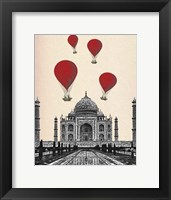 Framed Taj Mahal and Red Hot Air Balloons