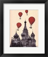 Framed St Basil's Cathedral and Red Hot Air Balloons