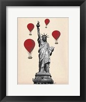 Framed Statue Of Liberty and Red Hot Air Balloons