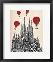 Sagrada Familia and Red Hot Air Balloons Framed Print
