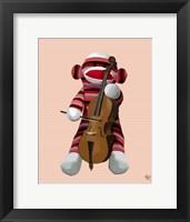 Framed Sock Monkey and Cello
